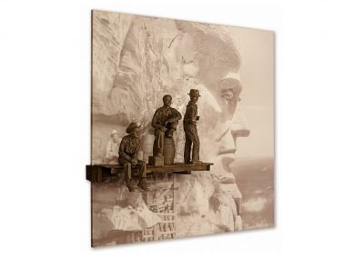 Lou Michaels Mixed-media Sculpture of Mount Rushmore